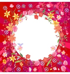 Greeting card with wreath of different flowers vector image