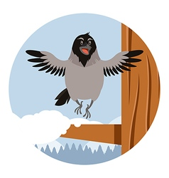 Happy Crow on the winter flat backgrownd vector image vector image