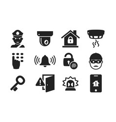 home security icon set 01 vector image vector image