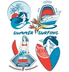 Retro Summer Surfing Icon Set vector image vector image