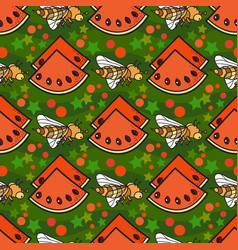 seamless pattern with slice of watermelo vector image vector image