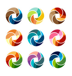 set of isolated colorful logo template of a vector image vector image