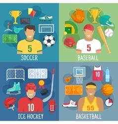 Soccer baseball hockey and basketball symbols vector image vector image