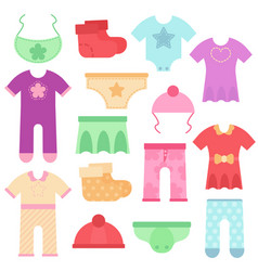 baby clothes kids colorful and bright bodysuits vector image