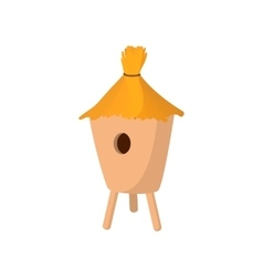Beehive covered with straw cartoon icon vector image