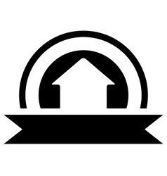 black real estate icon with cottage vector image vector image