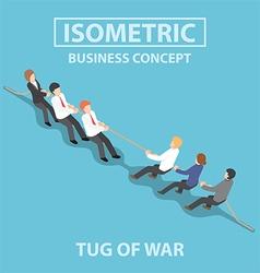 Isometric business people playing tug of war vector image