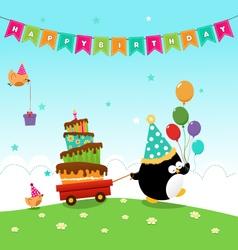 Penguin Delivering Birthday Cake vector image