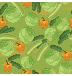 vegetables seamless pattern Hand drawn with vector image vector image