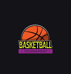 basketball tournament logo template vector image