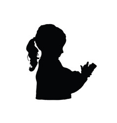 Child silhouette with mobile phone vector