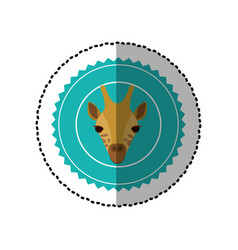 Emblem giraffe hunter city icon vector