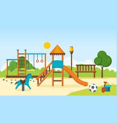 kids playground horizontal bars swings vector image