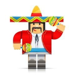 mexicano man origami toy vector image vector image