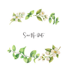 Watercolor wreath of flowers jasmine and vector