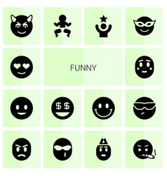 14 funny icons vector