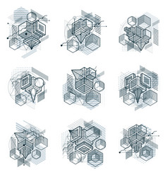 abstract backgrounds with isometric elements vector image