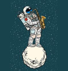 Astronaut saxophonist plays jazz in space vector