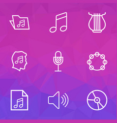 Audio outlines set collection of soundtrack vector