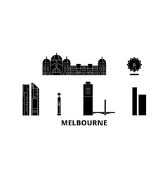australia melbourne city flat travel skyline set vector image