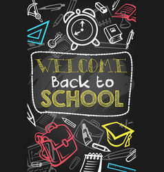 Back to school chalk sketch banner on blackboard vector