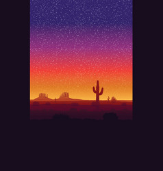 background landscape with desert and cactus vector image