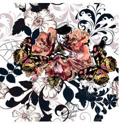 background with hand azalea flowers vector image