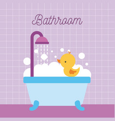 bathroom bathtub shower duck foam and pink tile vector image