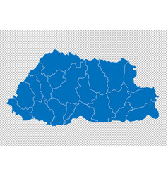 bhutan map - high detailed blue map with vector image