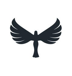 Black angel icon with majestic wings vector