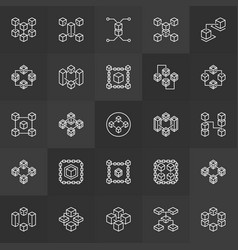 Block chain technology outline icons vector