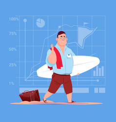 Business man hold surf board wait for vacation on vector