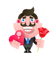 businessman with flowers and gift happy birthday vector image