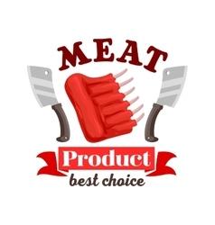 Butcher shop fresh meat ribs emblem vector