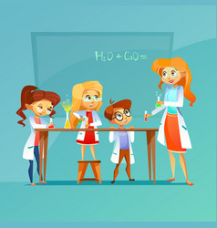 Children at chemistry class of vector
