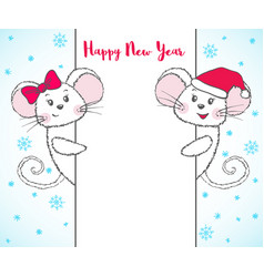 Chinese new year banner with cute mouse vector