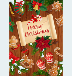 Christmas tree stocking and gifts with scroll vector