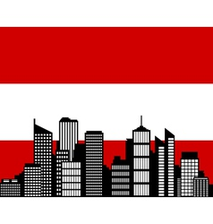 city and flag of austria vector image