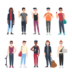 Collection of teenage boys dressed in trendy vector