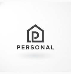 combination letter p and private house vector image
