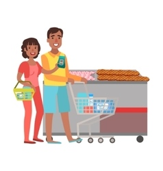 Couple Grocery Shopping Shopping Mall And vector image