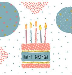 Cute birthday greeting card handdrawn background vector