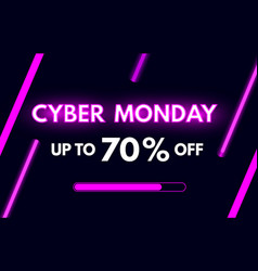Cyber monday sale banner in modern neon style vector