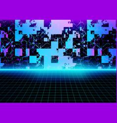 Cyberspace surface digital futuristic retro vector