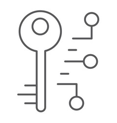 Digital key thin line icon security and safety vector