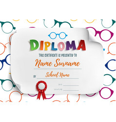 Diploma template for children vector