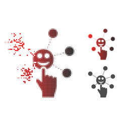 Disintegrating pixelated halftone hand click smile vector