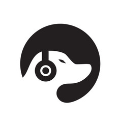 dog music logo vector image