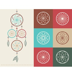 Dream catcher boho icons vector image