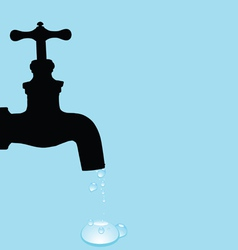 Drinking fountain and water droplets vector